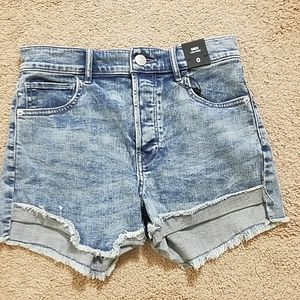 Express midi high rise jean shorts size 0